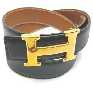 Hermes H Belt Constance Reversible Gold-tone